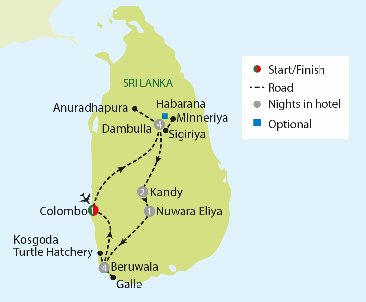 Sri Lanka - Pearl of the Indian Ocean tour map