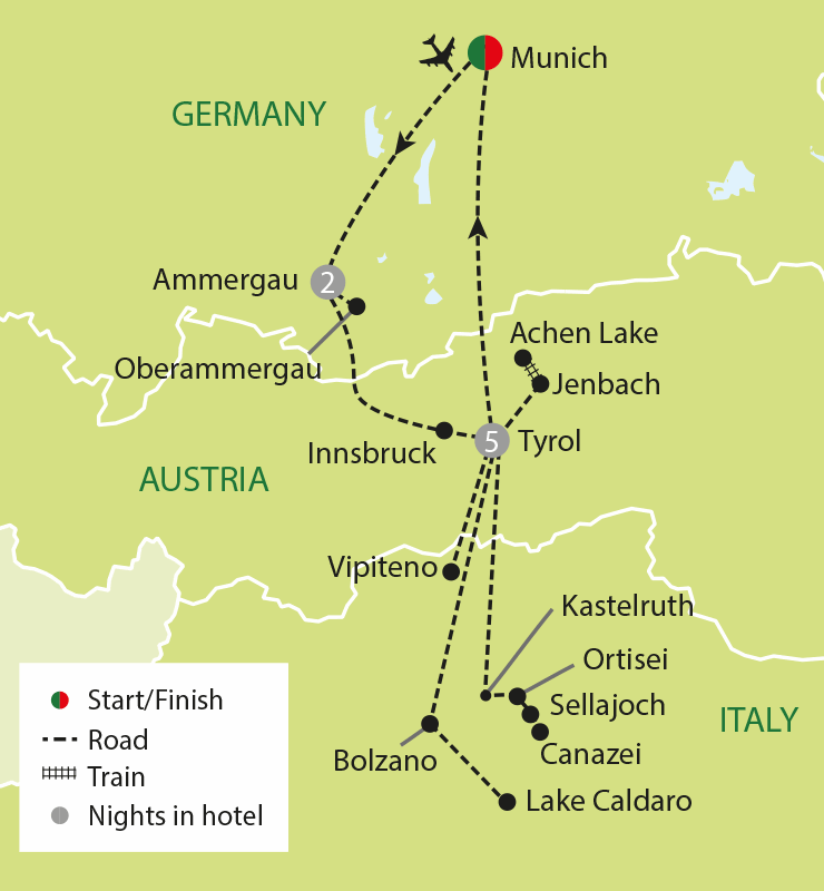 Passion Play, Innsbruck & the Dolomites tour map