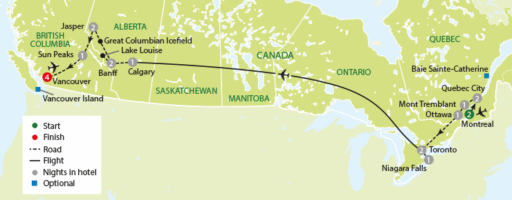 Canada East to West tour map