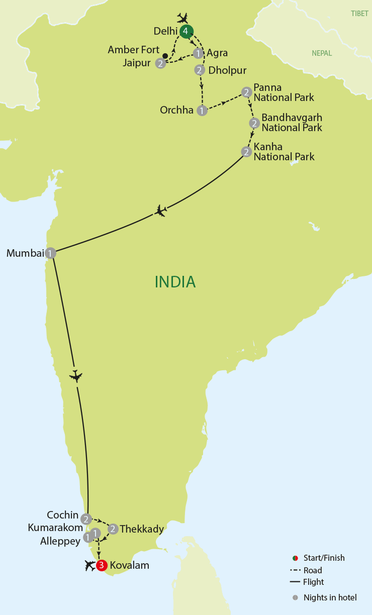 Backwaters, Tigers & the Taj Mahal tour map