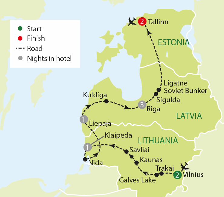 A Journey Through The Baltics tour map