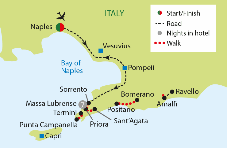 WALKING THE AMALFI COAST tour map