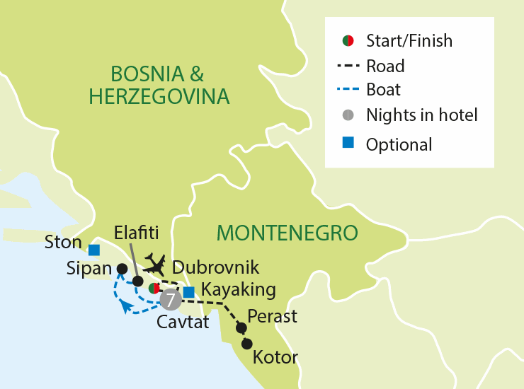 Deluxe Dubrovnik & The Dalmatian Coast tour map