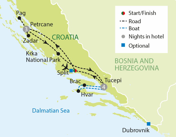 Croatia & the Makarska Riviera tour map