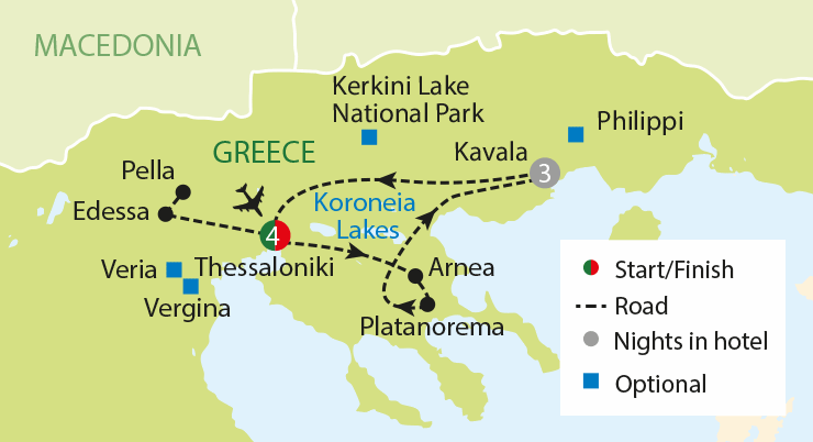The Royal Kingdom of Greek Macedonia tour map