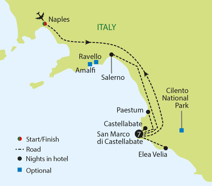 ITALY'S CILENTO COAST tour map