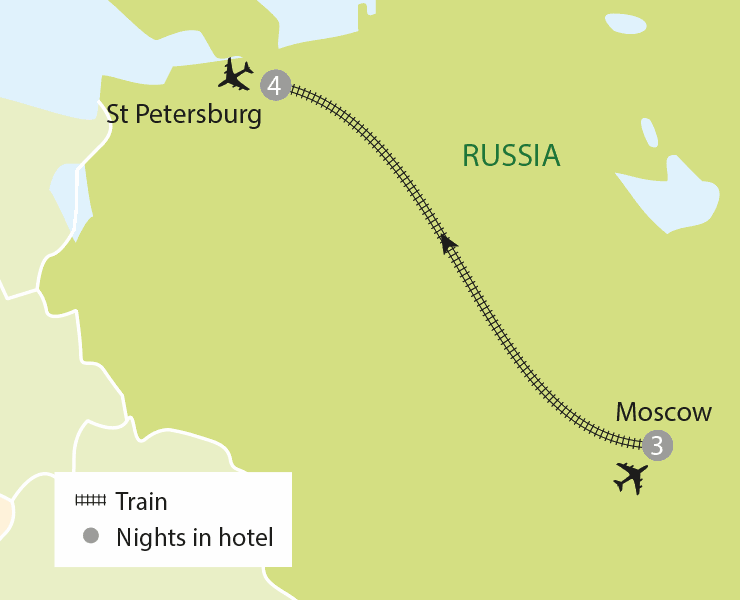 Moscow & St. Petersburg tour map