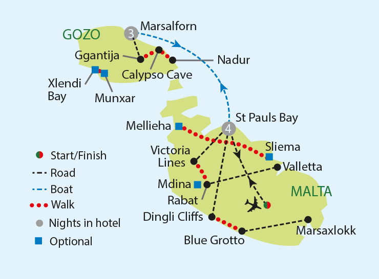 Walking in Malta and Gozo tour map