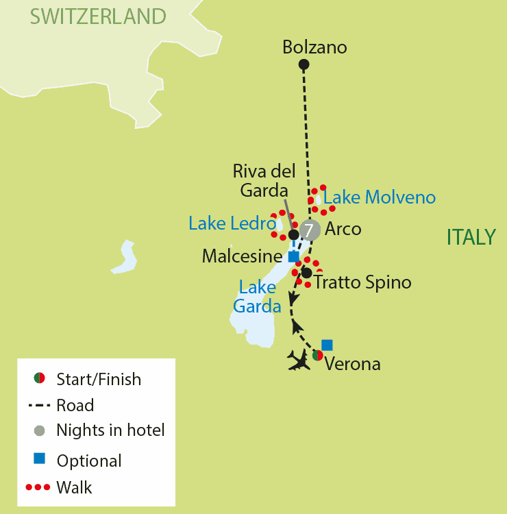 Walking - Lake Garda & the Sud Tyrol tour map