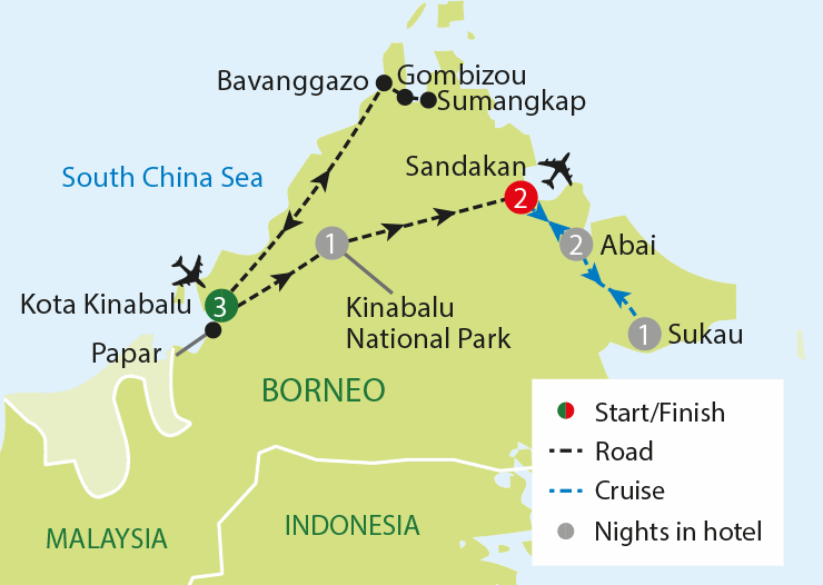 Wild Borneo tour map