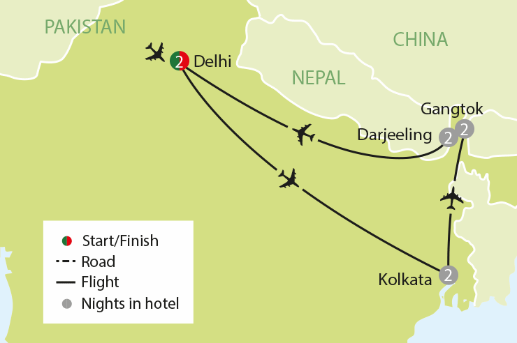 Delhi to Darjeeling tour map