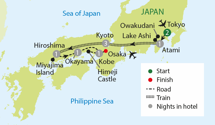 Japan Revealed tour map