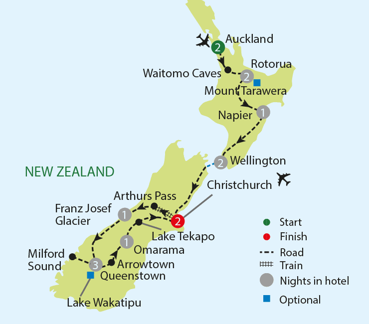 Breathtaking New Zealand tour map