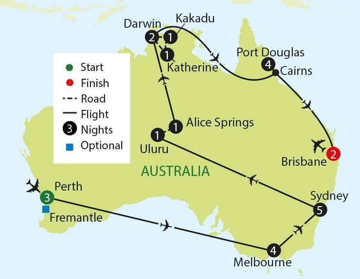 Australian Highlights - Festive departure tour map